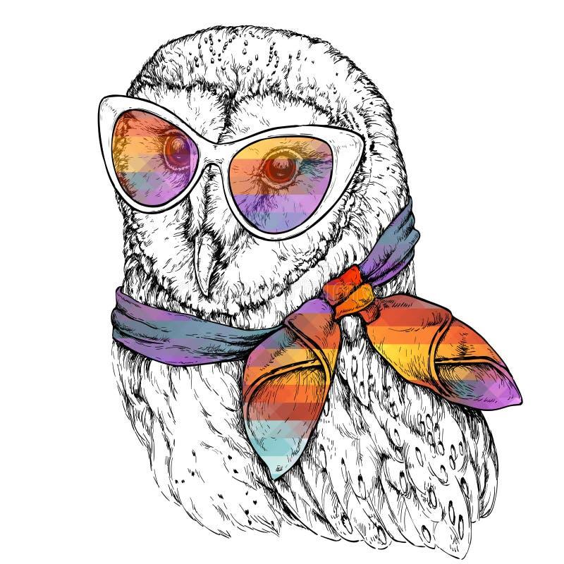 谷仓猫头鹰的手拉的时尚例证与太阳镜的 向量例证