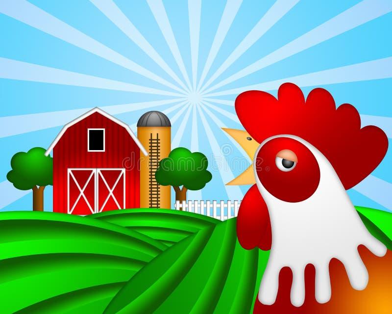 谷仓谷物绿色牧场地红色雄鸡筒仓 向量例证