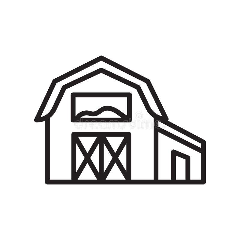 谷仓象在白色背景和标志隔绝的传染媒介标志,谷仓商标概念,概述标志,线性标志,概述标志, 库存例证