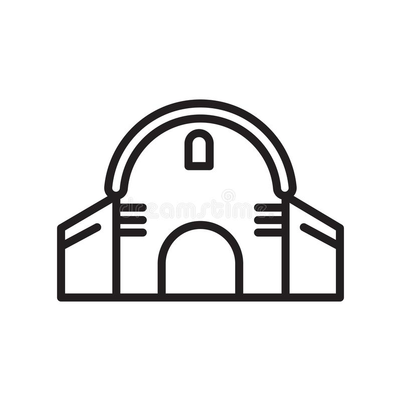 谷仓象在白色背景和标志隔绝的传染媒介标志,谷仓商标概念,概述标志,线性标志,概述标志, 向量例证