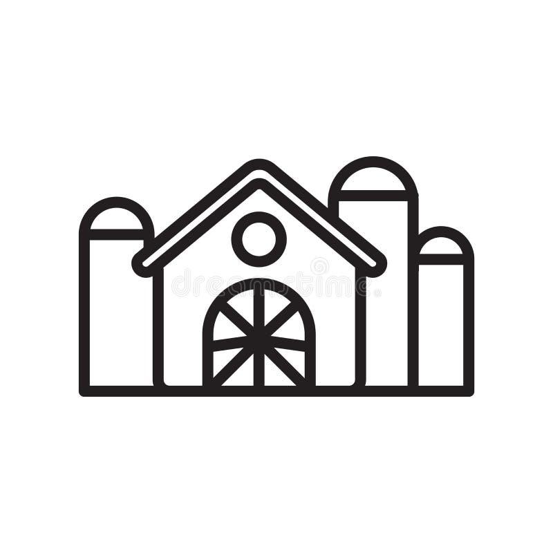 谷仓象在白色背景和标志隔绝的传染媒介标志,谷仓商标概念,概述标志,线性标志,概述标志, 皇族释放例证