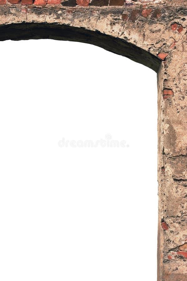 谷仓门门曲拱框架石墙特写镜头,垂直隔绝了拷贝空间,红砖阻碍样式的涂灰泥的难看的东西,老年迈 免版税库存照片