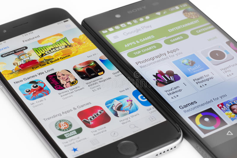 谷歌戏剧和苹果计算机App商店 库存照片