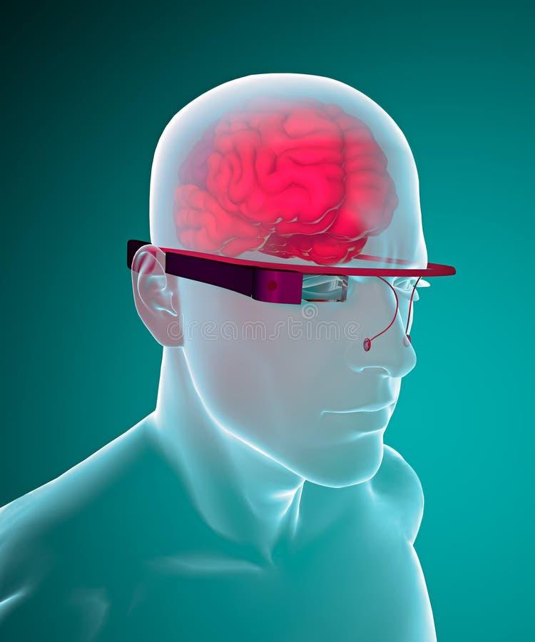 谷歌玻璃交互式脑子 皇族释放例证