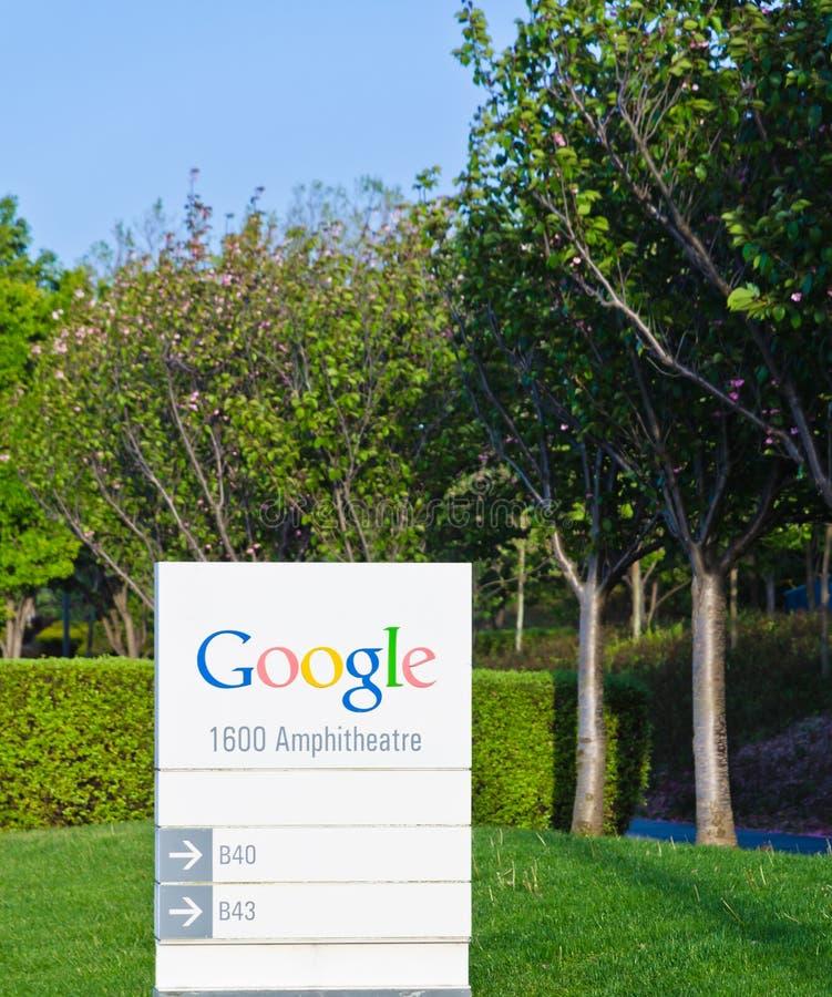 谷歌总部地址与信息有关的标志 免版税库存照片