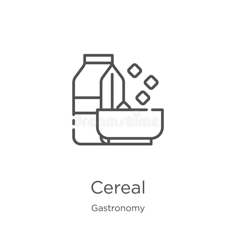 谷物从美食术汇集的象传染媒介 稀薄的线谷物概述象传染媒介例证 概述,稀薄的线谷物象 向量例证