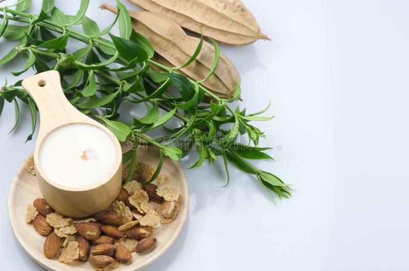 谷物和坚果用牛奶在木小碗在白色grou 免版税图库摄影