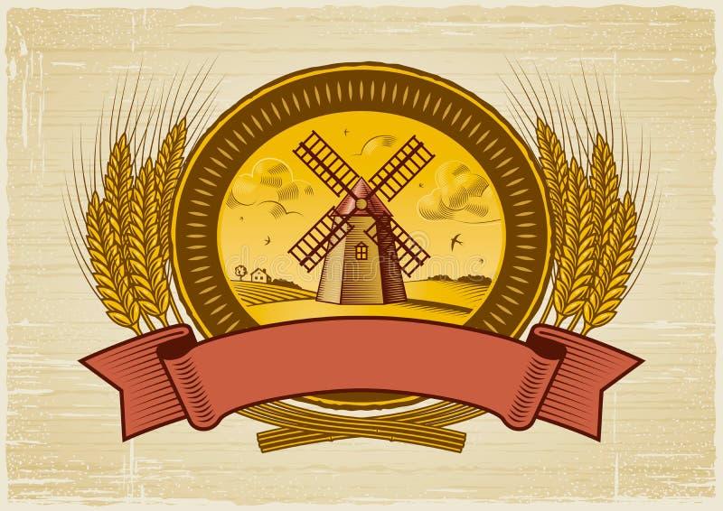谷物收获标签 向量例证