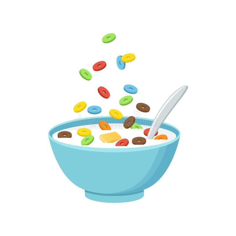 谷物碗用牛奶,在白色背景隔绝的圆滑的人 皇族释放例证