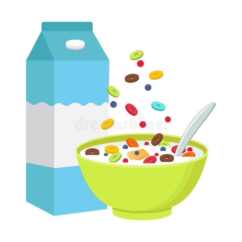 谷物碗用牛奶,在白色背景隔绝的圆滑的人 库存例证