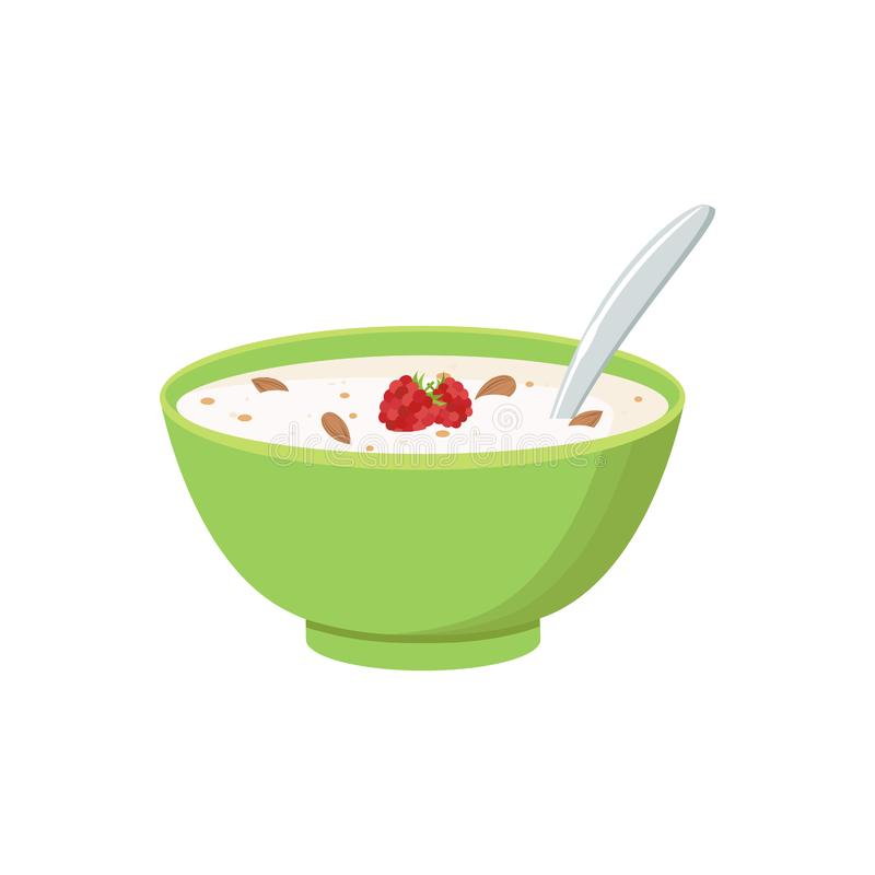 谷物碗用牛奶,在白色背景隔绝的圆滑的人 Co 向量例证