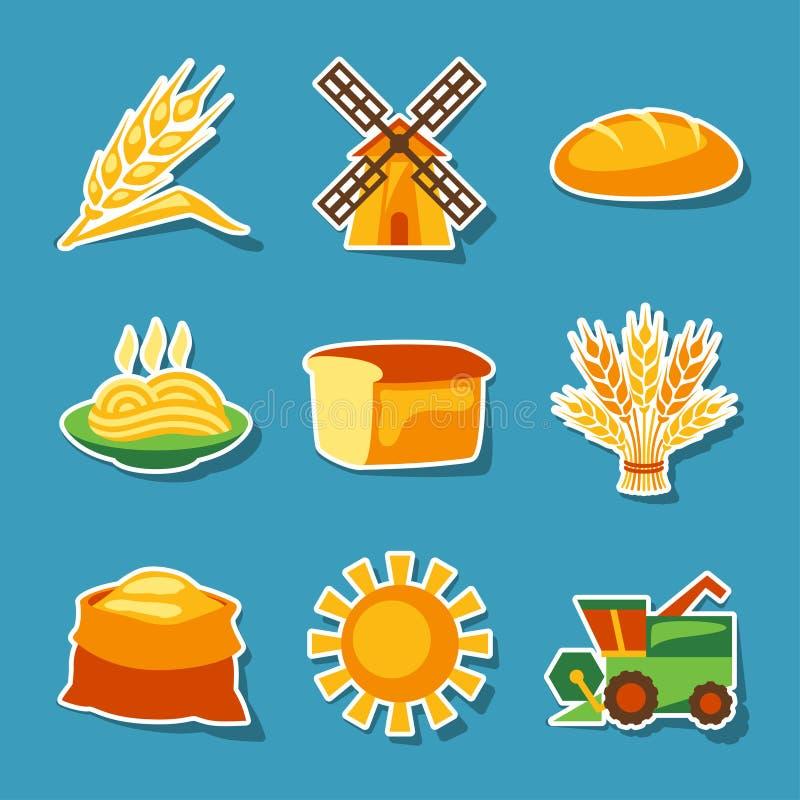 谷物耕种和种田贴纸象集合 皇族释放例证