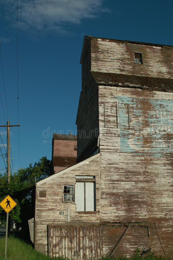 谷物仓库, BC克里斯顿,加拿大。 免版税库存照片