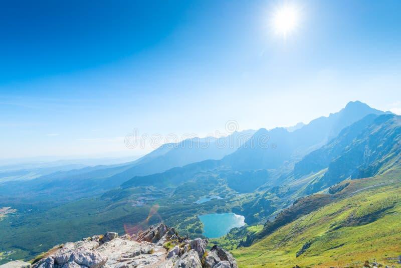 谷的海报视图与Tatra山湖的  免版税库存照片