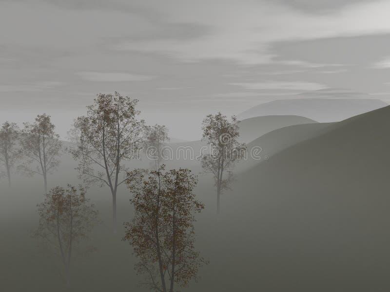 谷的看法与树和雾的 向量例证