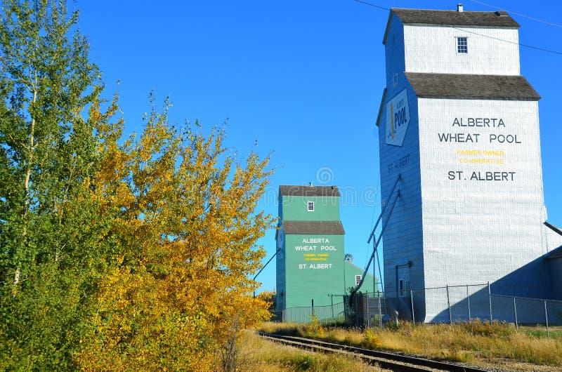谷粮仓,路轨路边,西加拿大 库存图片