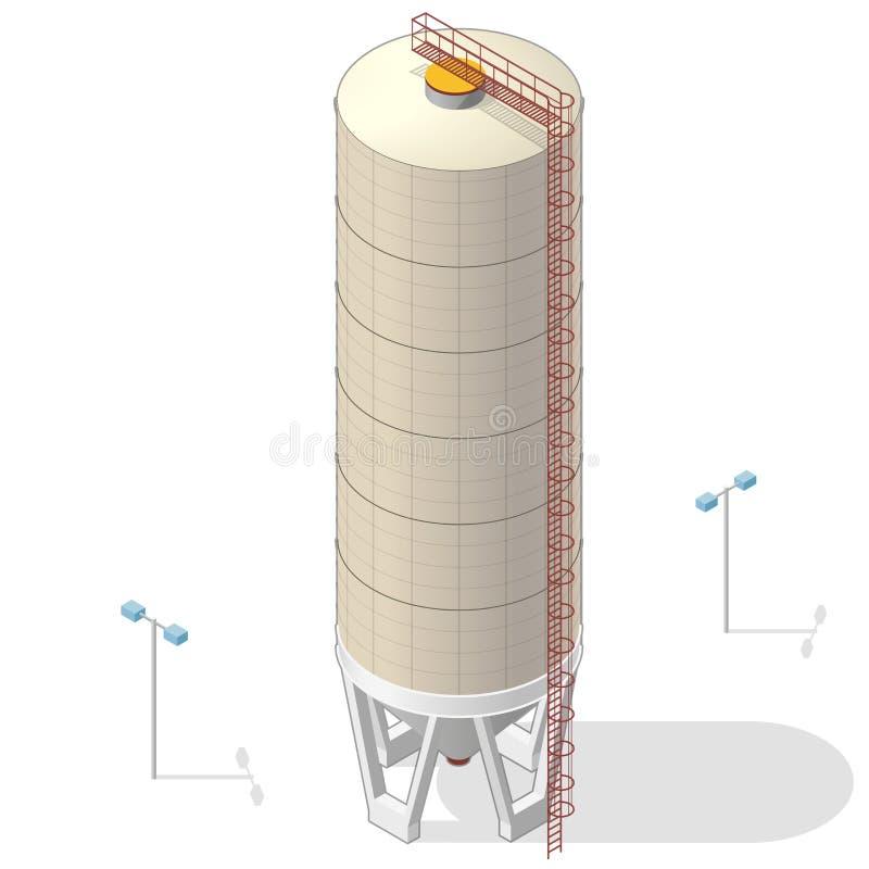 谷粮仓,等量茶黄大厦infographic在白色背景 皇族释放例证