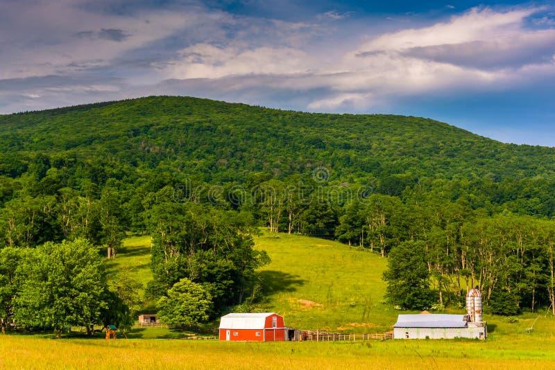 谷仓和一座山在西部Virg农村波托马克高地  免版税库存照片