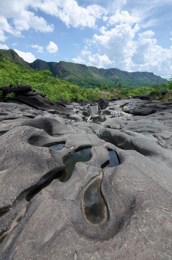 谷da Lua在Chapada dos Veadeiros国家公园 免版税图库摄影