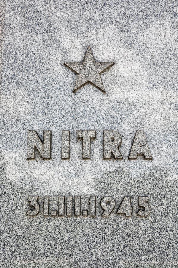 豁免Nitra市,纪念纪念碑斯拉维纪念匾  免版税库存照片