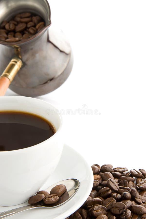 豆咖啡杯充分的罐 免版税库存图片