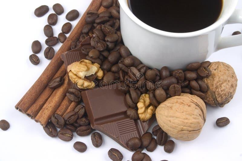 豆咖啡杯核桃 免版税库存照片