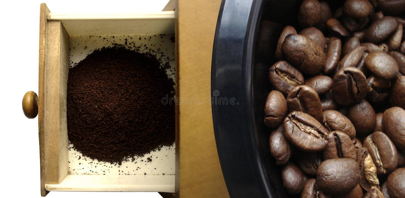 豆咖啡碾 免版税库存照片