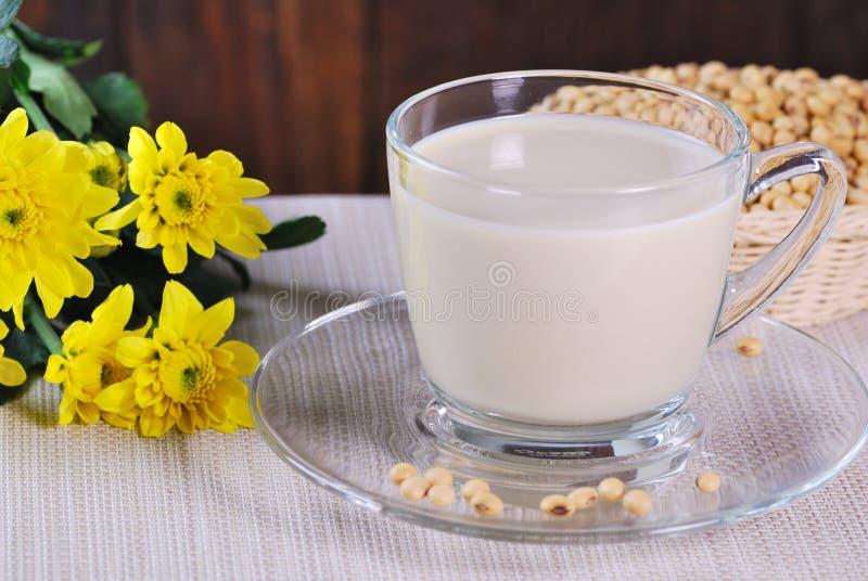 豆奶用在桌上的大豆豆 免版税库存照片