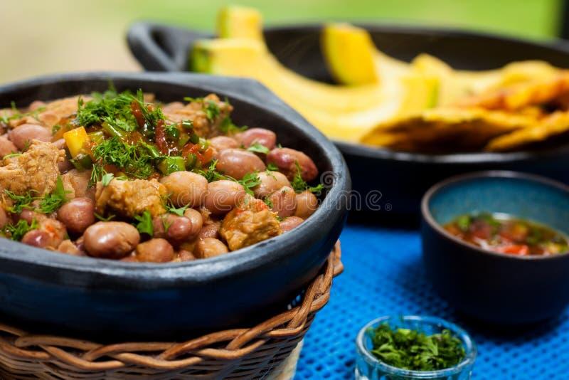 豆用猪肉服务用鲕梨和patacon 免版税库存照片