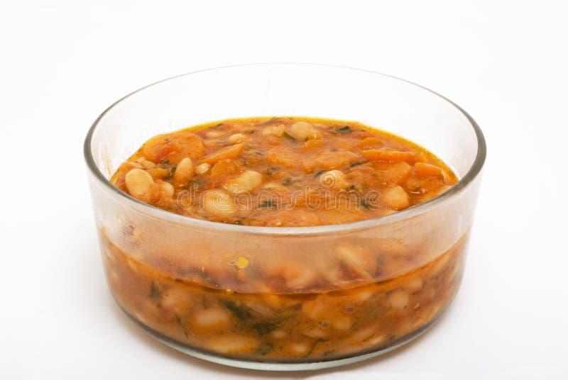豆碗玻璃汤 免版税库存照片