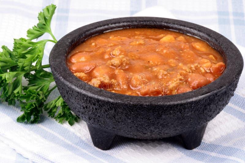 豆碗辣椒食谱特殊 库存照片