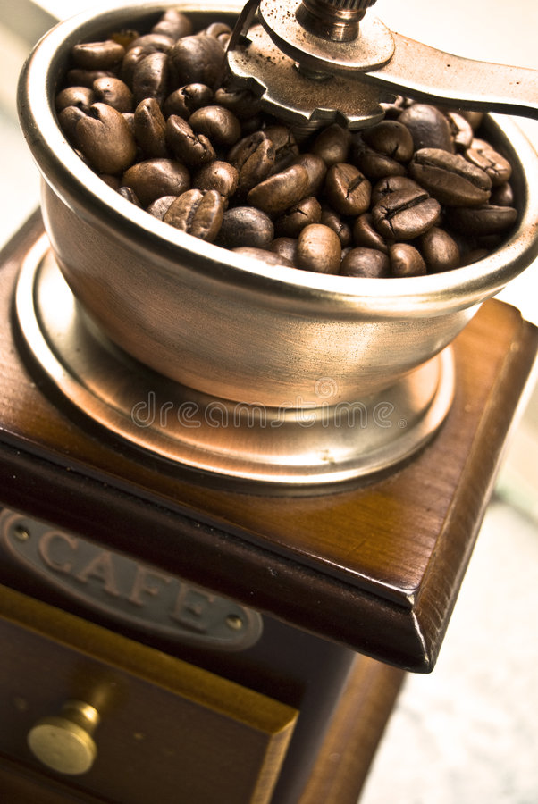 豆磨咖啡器 库存照片