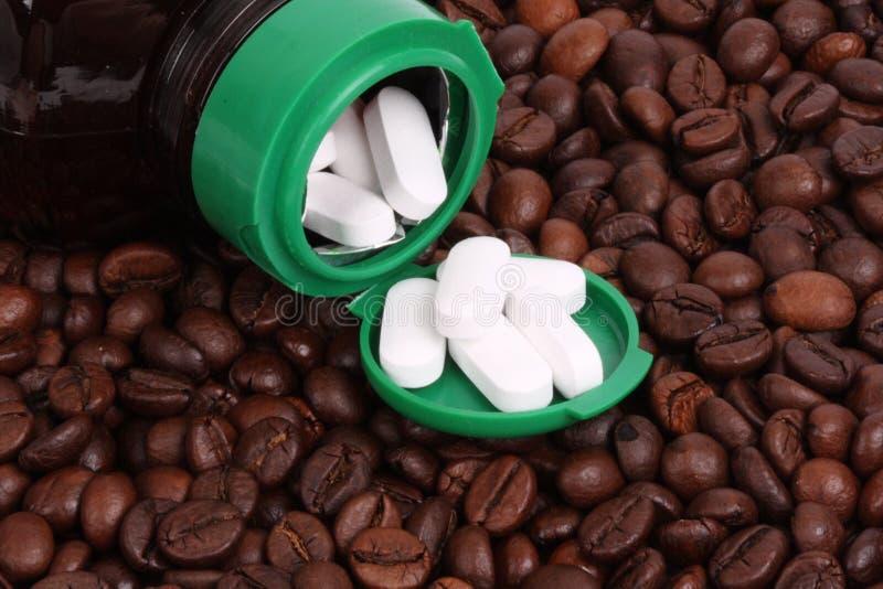 豆空白咖啡的药片 库存图片
