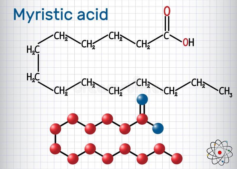 豆蔻十四酸分子 它饱和脂肪酸 结构化学式和分子模型图片