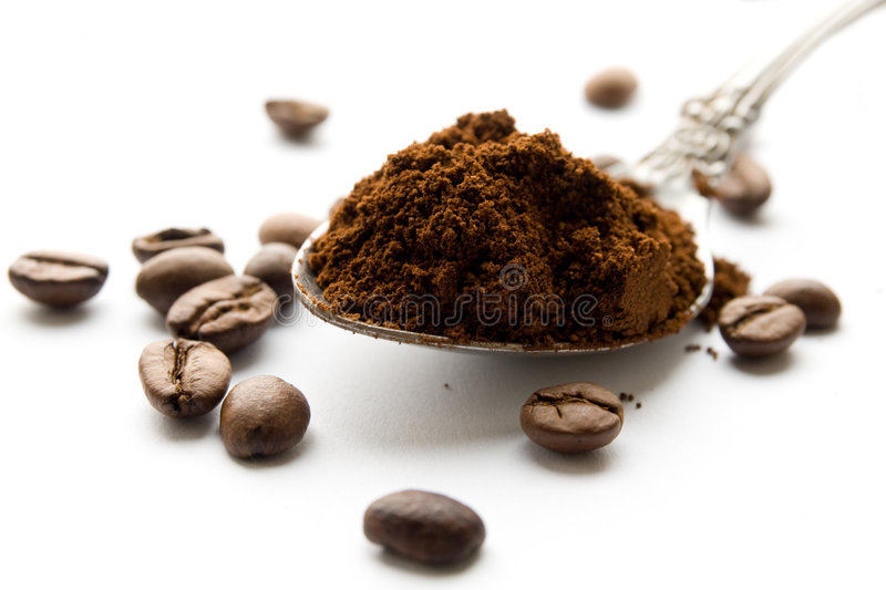 豆黑色咖啡渣 库存照片