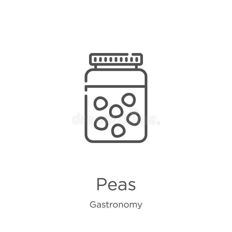豌豆从美食术汇集的象传染媒介 稀薄的线豌豆概述象传染媒介例证 概述,稀薄的线豌豆象为 向量例证