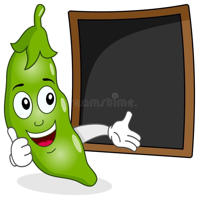 豌豆食谱或菜单黑板荚  库存例证