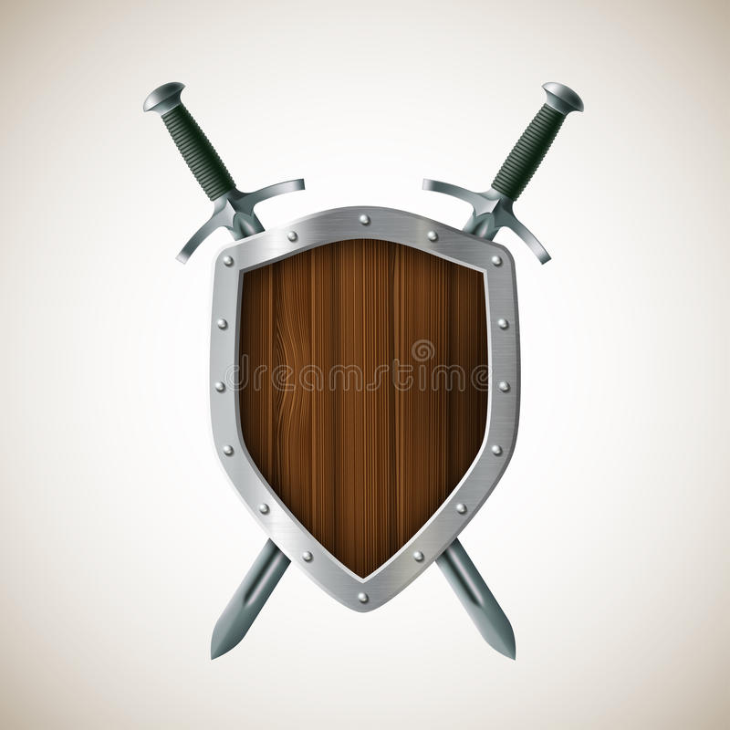 象两剑和盾 纹章学符号 8条另外的胳膊外套eps文件格式以图例解释者 库存例证