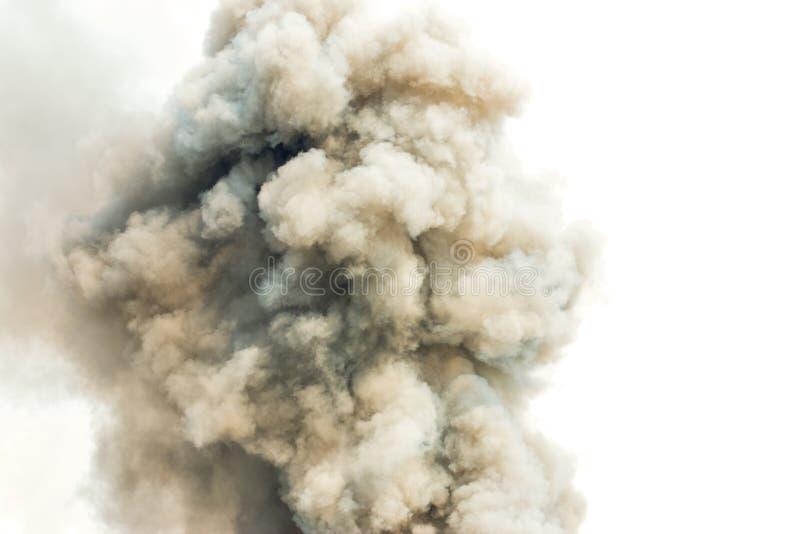 象云彩背景的灰色烟,炸弹烟背景 免版税库存照片