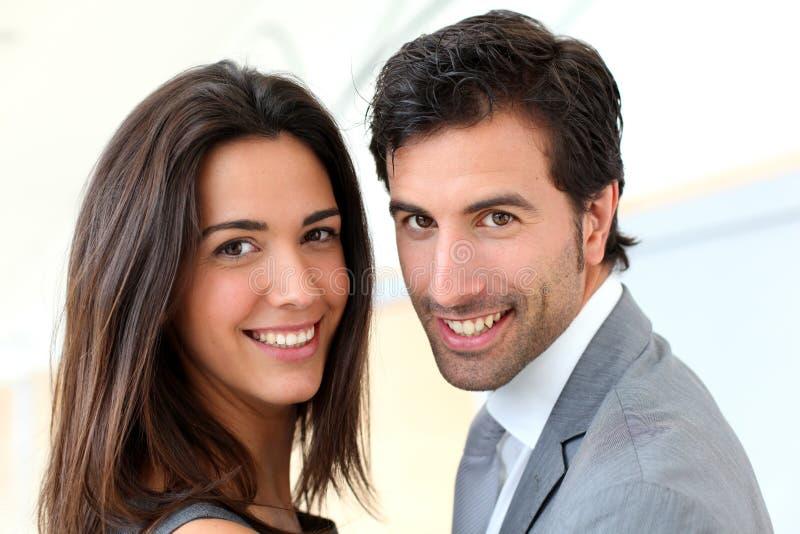 画象企业夫妇微笑 库存图片