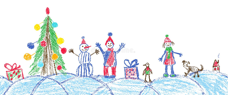 象儿童手画的圣诞节空间广场 皇族释放例证