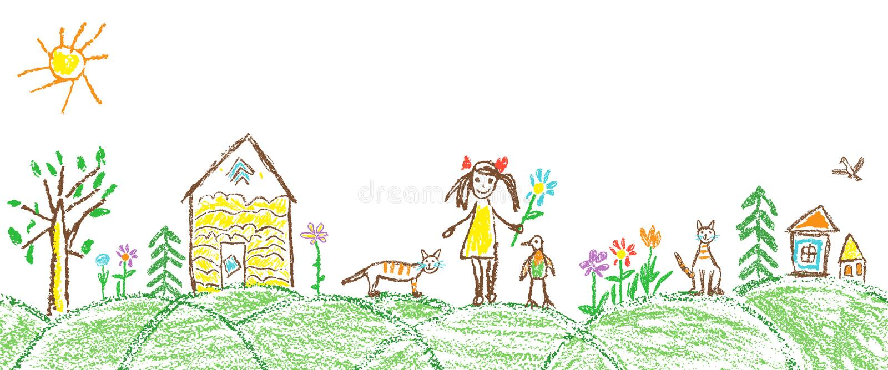 象儿童手画的夏天庭院村庄 皇族释放例证