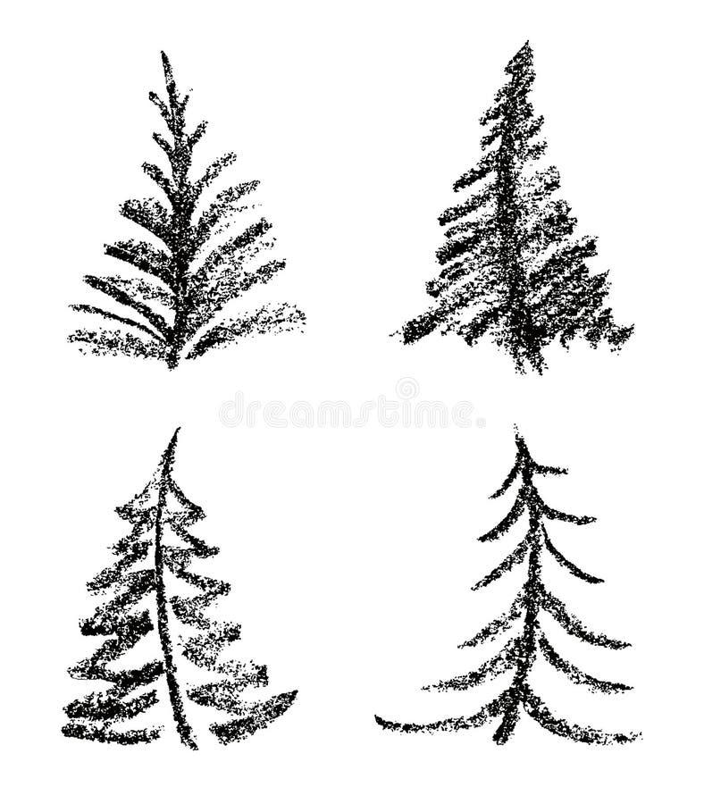 象儿童` s圣诞快乐树集合图画样式的蜡笔  向量例证