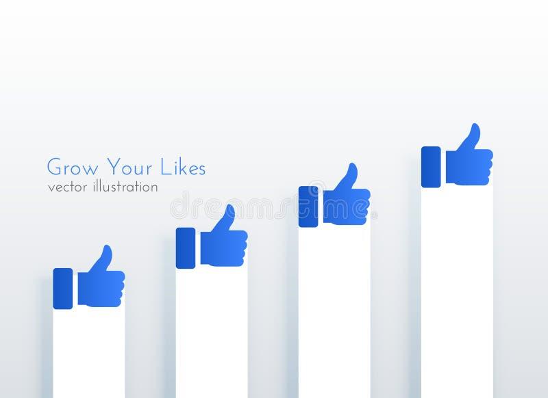 象向上的增长图社会媒介的构思设计 皇族释放例证