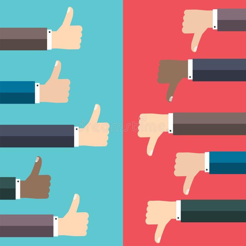 象和反感概念 赞许和拇指下来递标志 皇族释放例证