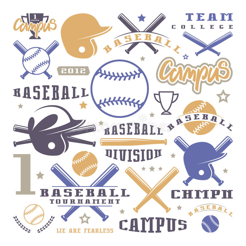 象和徽章被设置棒球队 库存例证