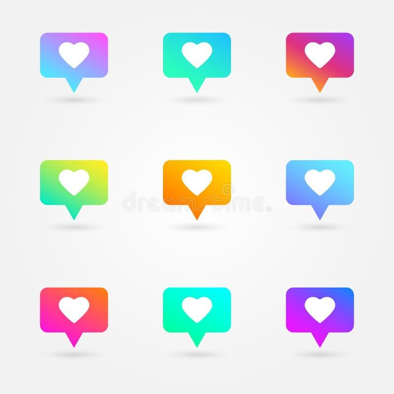 象和心脏被设置的象 社会网络标志 逆通知象 社会媒介元素 明亮的梯度收藏 e 向量例证