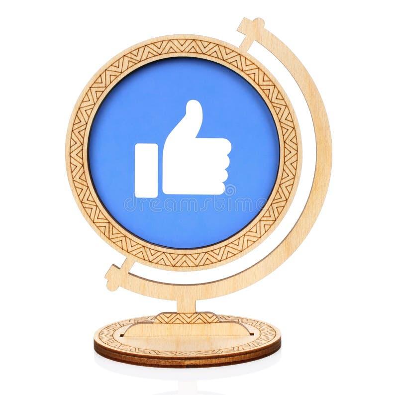 象圈子象的Facebook被安置入木地球 库存照片