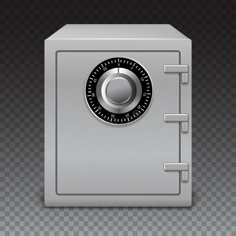 象在透明背景的金属箱子 有数字式锁的,老练细节保险柜 皇族释放例证