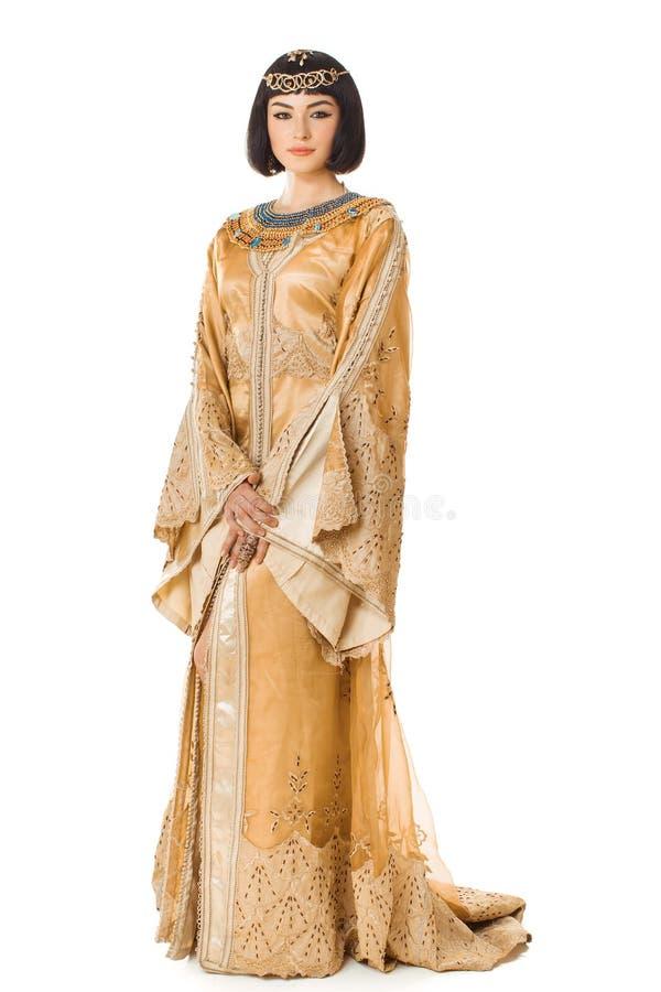 象埃及女王帕特拉的美丽的妇女白色的隔绝了背景 免版税库存图片